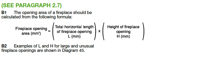 Calculation of opening area of Fireplace Part J