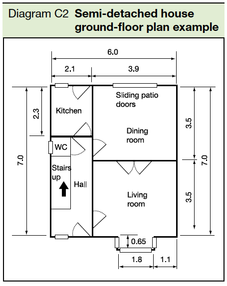 Diagram C2 Semi-detached ground floor plan example