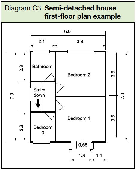 Diagram C3 Semi-detached house first floor plan example