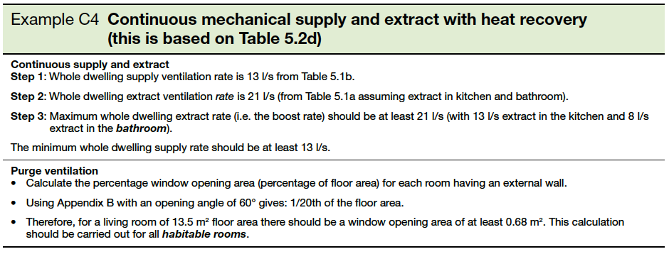 Example C4 Continuous mechanical supply and extract with heat recovery (this is based on Table 5.2d)