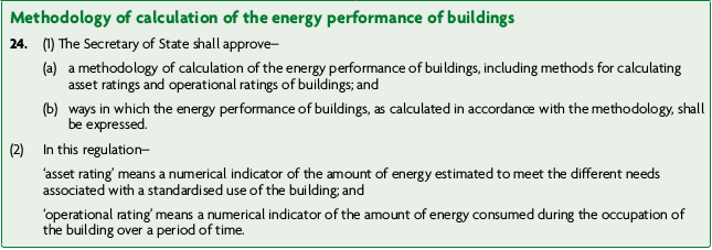 Table: Methodology of calculation of the energy performance of buildings