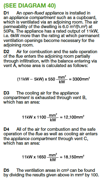See Diagram 40 Calculation of Vents for Open flue appliance Part J